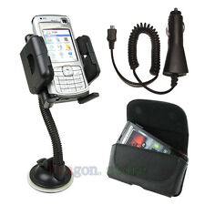 Car Mount Holder + Car Charger + Leather Case for HTC Mobile cell Phones 2015