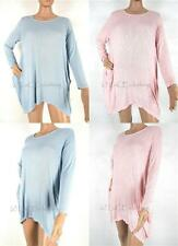 NEW Casual Italian Soft Touch Long Sleeve Lagenlook Pocket Tunic Top