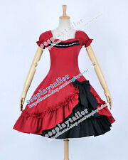 Victorian Lace Sweet Lolita Red Black Classical Dress Halloween Cosplay Costume