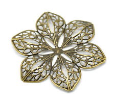 Wholesale Bronze Tone Filigree Flower Wraps Connectors Embellishments