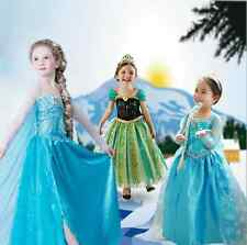 NEW! FROZEN DRESS ELSA ANNA PRINCESS DRESS KIDS COSTUME PARTY FANCY SNOW QUEEN