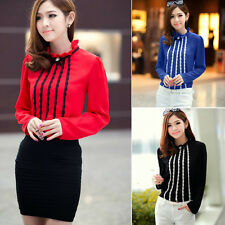 Trendy Pullover Lace Trims Womens Lady Blouse Shirt Top Detachable Collar Brooch