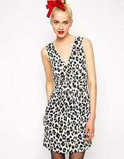 Love Moschino Leopard Jersey Dress Leopard Sleeveless NEW Mini V neckline
