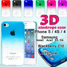3D Raindrop Ultra Thin Hard Back Case Cover For iPhone Samsung HTC Blackberry