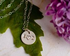 Couples Necklace Sterling Silver or Gold Filled Two Initials Heart Round Disc