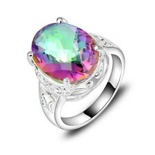 Glamorous Marquise Fire Rainbow Mystic Topaz Gemstone Silver Ring Size 7 8 9