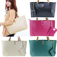 Women PU Leather Tote Handbag Hobo Shoulder Satchel Bag + Purse