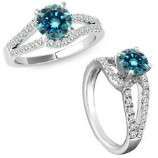 1 Carat Blue Diamond Solitaire Promise Anniversary Bridal Ring 14K White Gold