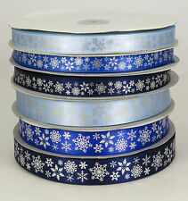 Frozen Snowflake Satin Ribbon 15mm and 25mm width Blue/Silver