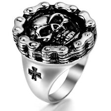 Silver Stainless Steel Motorcycle Biker Chain Men's Cross Skull Ring Size 8-12
