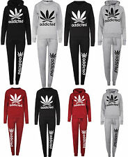 Womens Addicted Tracksuit Set Weed Cannabis Print Leaf Jumper Top Joggers 8-14