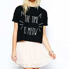 Small Cat Printing Short Time Meow Black Round Collar Short Sleeves T-shirt
