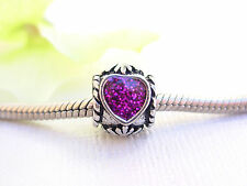 Cute Silver Tone Sparkle Purple Love Heart Bead Charm Spacer fits Euro Bracelets