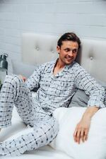 Mens Pyjamas Mens Winter Long Pjs White Grey Cheques Sz S M L XL XXL