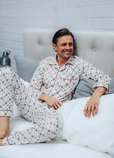 Pyjamas Mens Winter Long Pjs Pyjamas White Brown Cheques (sz S-XXL) Sz S M L XL
