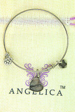 ANGELICA CHARM BRACELET BANGLE SILVER YELLOW DAUGHTER BEST FRIEND NIECE 1005