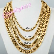 6/8/10/12mm Stainless Steel 18K Gold Plated Flat Franco Chain Necklace Bracelet
