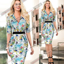 Women Elegant Tunic V Neck Belted Business Casual Party Sheath Fitted Dress 447