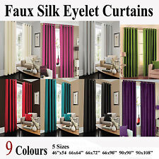 Faux Silk Fully Lined Ready Made Pair of Ring Top Eyelet Curtains With Tie Backs