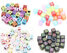 50/100pcs Mixed Acrylic Individual Alphabet Letter Cube Loose Spacer Beads Charm