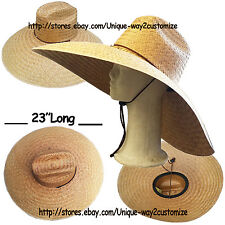 BIG SIZE STRAW HAT WITH CHIN STRING FOR *FARMING FISHING BEACH* WIDE BRIM 7.5""