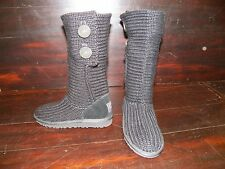 New Kids UGG Cardy 2 Button Black Winter Knit Slip On Sheepskin Boots