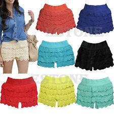 HOT Sexy Fashion Mini Lace Crochet Tiered Short Skirt Under Safety Pants Shorts
