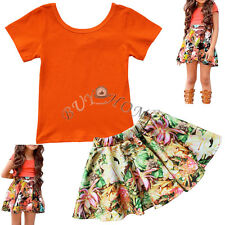 Baby Toddler Girls Kids Top T-shirt + Floral Tutu Skirt Dress Summer Clothes Set