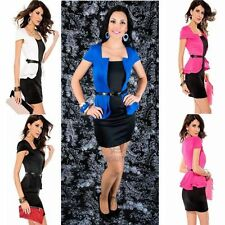 Formal Office Party Work Dress Short Cap Sleeve Peplum Sexy Mini Stretch Bodycon