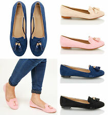 WOMENS LADIES FLAT CASUAL OFFICE PATENT FAUX LEATHER FRINGE TASSEL ...