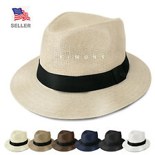 Panama Straw Fedora Hat Trilby Cuban Cap Summer Beach Sun Derby Short Brim