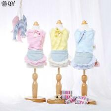NEW Summer Clothing For Dogs Pet Puppy Cotton Denim Lace Striped Dog Dress XS-XL