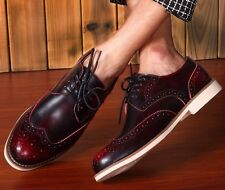 Fashion mens Leather Oxfords Brogue  Wing Tip  Lace Up casual  Dress shoes #