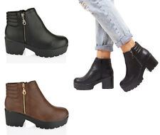 Womens ladies block heel chunky platform office work ankle zip boots shoes size