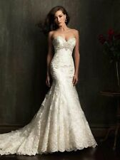 Cheap White/Ivory Formal Lace Strapless Wedding Dresses Size 4-6-8-10-12-14-16+