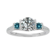 1 Carat G-H & Blue Diamond 3 Stone Wedding Anniversary Ring 14K White Gold