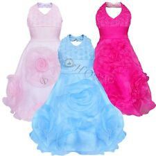Rosette Flower Girl Halter Dress Wedding Bridesmaid Pageant Party Child Size 3-9
