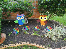 Animal Owl on Bike Windmill Wind Spinner Whirligig Garden Lawn Yard Decoration