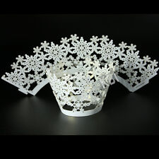 Cupcake Wrappers Snowflake Pattern Party Cake Decorations White Color