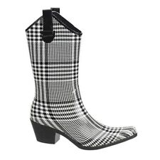 Womens Western Rain Boots Black Plaid Cowgirl Rubber Waterproof Any Size 5-10