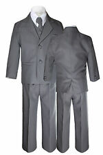 New Baby Toddler Boy Dark Gray Gray Tuxedo Wedding Formal Party 5pc Suits Sz S-7