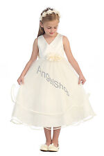 Lovely Ivory Flower Girl Dress, Communion Confirmation JR Bridesmaid Girls Dress