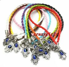 "New 10/100pcs Leather Cord HAMSA HAND ""Evil Eye""String Bracelets Lucky Charms"