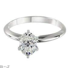 Engagement Ring Solitaire 14K White Solid Gold 1.01 Ct Oval Shape Diamond Cut