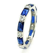 Sterling Silver 925 Eternity Ring Blue Red  Green CZ Band Size Baguette 5 6 7 8