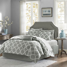 BEAUTIFUL CHIC MODERN REVERSIBLE BED IN  BAG BLUE GREY COMFORTER SET & SHEETS