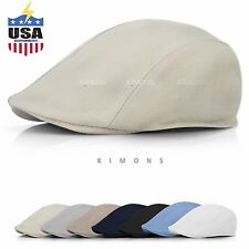 Summer Plain Linen Newsboy Gatsby Cap Ivy Hat Golf Driver Mens Flat Cabbie
