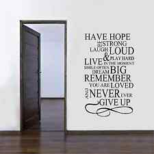 Have Hope, Be Strong Vinyl Wall Art Sticker - 4 Sizes and 16 Colours - fam16