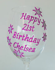 Personalised 21st Birthday Gift Stars Design Wine Glass Champagne Flute 18th 30