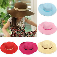 Hot Fashion Wide Large Brim Kid Girls Summer Pure Sun Straw Beach Hats Cap Hat